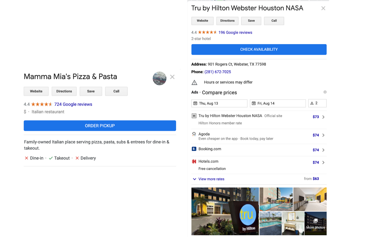 Google My Business Button Examples