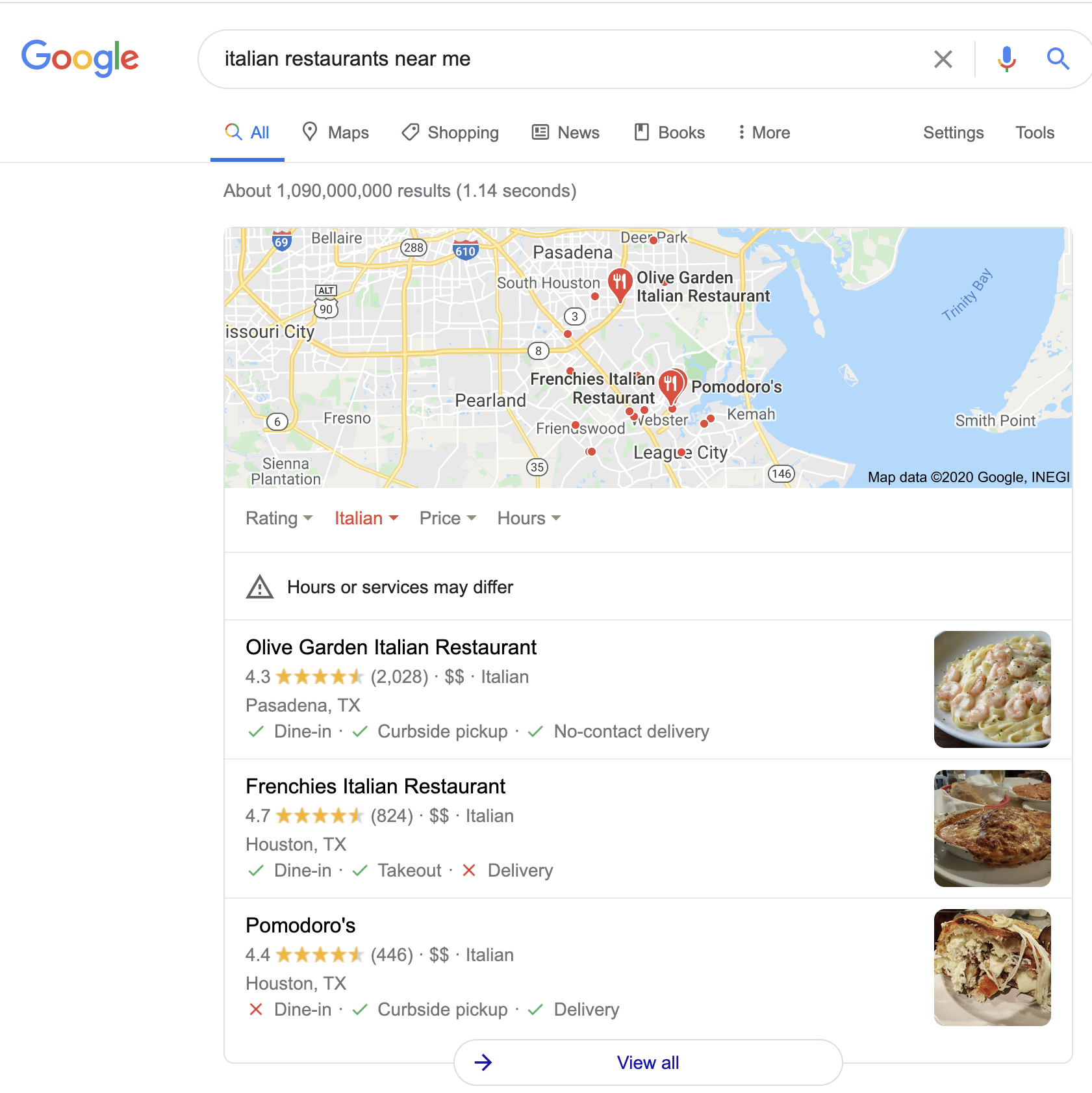 Google Search Italian Restaurants Near Me