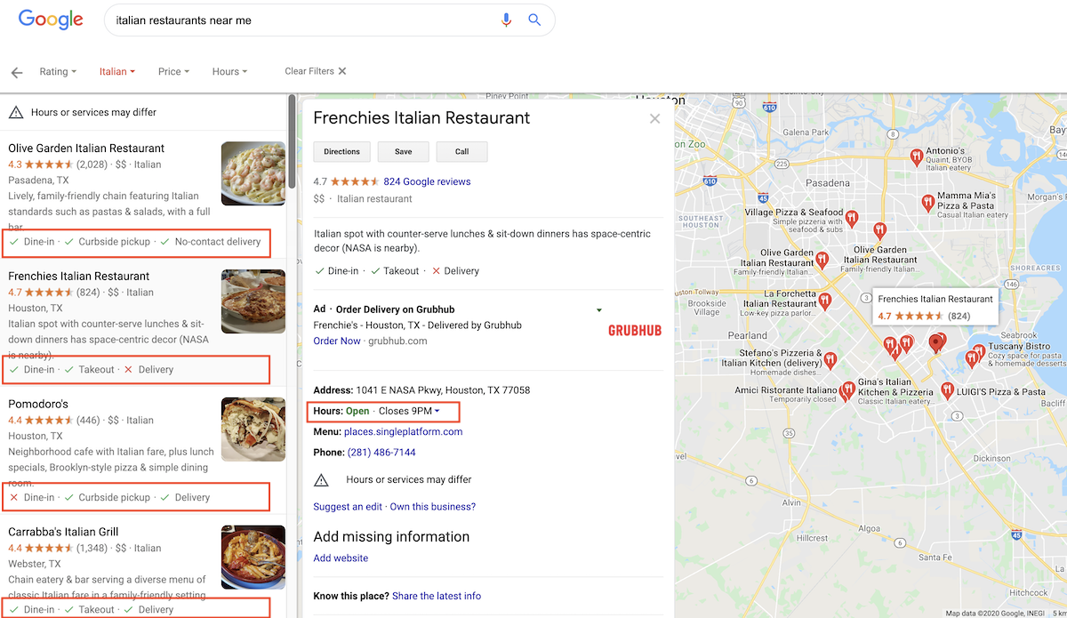 Italian Restaurant Google Maps Search